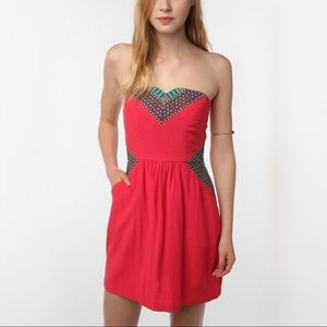 UO Embroidered Strapless Dress